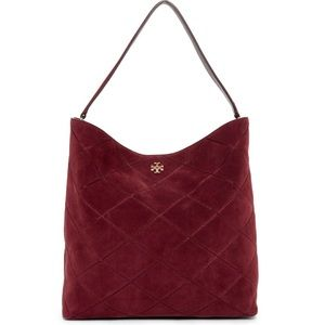 Tory Burch Frida Stitched Suede Shoulder Hobo Bag